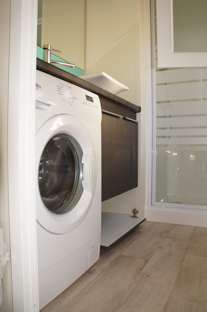 A vendre mobil home neuf louisiane sumba premium 2012 - Meuble salle de bain avec emplacement machine a laver ...