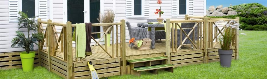 Terrasse bois Clairval pour les mobil homes neufs et les mobil homes d